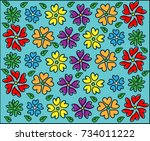 cute colorful flower pattern... | Shutterstock .eps vector #734011222