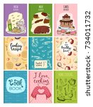cooking recipe books cover... | Shutterstock .eps vector #734011732