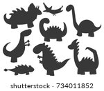 cartoon dinosaurs vector... | Shutterstock .eps vector #734011852