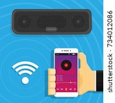 portable bluetooth wireless...   Shutterstock .eps vector #734012086