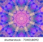 kaleidoscope violet flower.... | Shutterstock . vector #734018092
