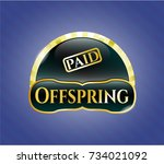 shiny badge with paid icon and ... | Shutterstock .eps vector #734021092