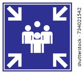 meeting point sign blue color  | Shutterstock .eps vector #734021542