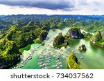 floating fishing village and... | Shutterstock . vector #734037562