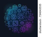 artificial intelligence round... | Shutterstock .eps vector #734043535