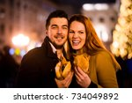 portrait of young couple with... | Shutterstock . vector #734049892