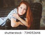 portrait of young beautiful... | Shutterstock . vector #734052646