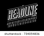vector of retro bold font and... | Shutterstock .eps vector #734054836