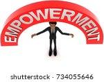 3d man with empowerment text... | Shutterstock . vector #734055646