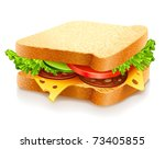 appetizing sandwich with cheese sausage and vegetables vector illustration isolated on white background
