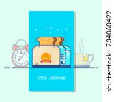good morning card. toaster and...   Shutterstock .eps vector #734060422