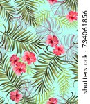 seamless tropical pattern with... | Shutterstock .eps vector #734061856