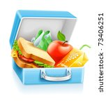 lunch box with sandwich apple... | Shutterstock .eps vector #73406251