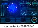 hud blue scifi smart brain... | Shutterstock .eps vector #734063266