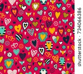 romantic seamless pattern with... | Shutterstock .eps vector #734066386
