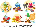 Stock vector alice in wonderland characters and elements 734072785