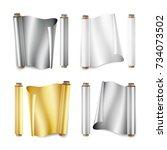 foil roll set vector. aluminium ... | Shutterstock .eps vector #734073502