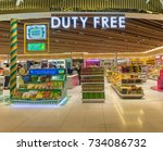 editorial use only  duty free... | Shutterstock . vector #734086732