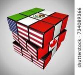 concept of tlcan or nafta... | Shutterstock . vector #734089366
