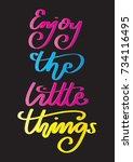 hand lettering enjoy the little ...   Shutterstock .eps vector #734116495