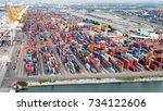 aerial view of cargo ships...   Shutterstock . vector #734122606