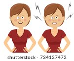 young woman showing angry and...   Shutterstock .eps vector #734127472