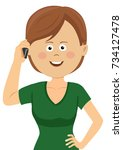 young woman talking on the phone   Shutterstock .eps vector #734127478