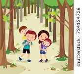 happy young family walking in... | Shutterstock .eps vector #734134726
