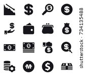16 vector icon set   crisis ... | Shutterstock .eps vector #734135488