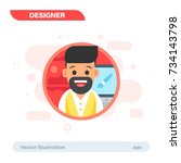 simple flat graphic designer... | Shutterstock .eps vector #734143798