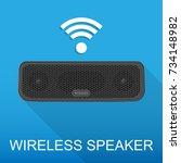 portable wireless speaker...   Shutterstock .eps vector #734148982
