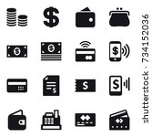 16 vector icon set   coin stack ... | Shutterstock .eps vector #734152036