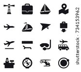 16 vector icon set   lighthouse ... | Shutterstock .eps vector #734153962