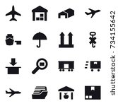 16 vector icon set   plane ... | Shutterstock .eps vector #734155642