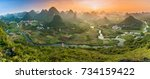 Sunset over the Cuiping Wuzhi Hill in Guilin, China