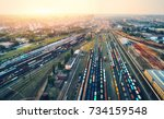 cargo trains. aerial view of... | Shutterstock . vector #734159548