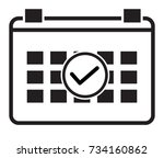 event schedule icon on white... | Shutterstock .eps vector #734160862