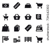 16 vector icon set   money ... | Shutterstock .eps vector #734162302
