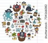 pirates children cartoon... | Shutterstock . vector #734166082