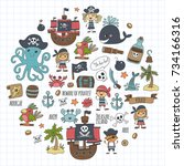 pirates children cartoon... | Shutterstock . vector #734166316