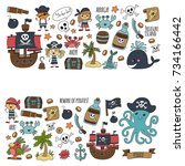 seamless pattern pirate party... | Shutterstock . vector #734166442