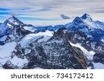 wintertime view from mt. titlis ... | Shutterstock . vector #734172412