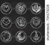 set of latte art on chalkboard... | Shutterstock . vector #734173228