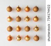 golden christmas baubles... | Shutterstock . vector #734174422