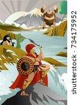 ulises greek mythology in the... | Shutterstock .eps vector #734175952