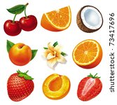 set of different fruits... | Shutterstock . vector #73417696