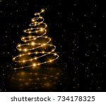christmas gold tree background | Shutterstock . vector #734178325