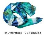 green and blue silk headscarf... | Shutterstock . vector #734180365