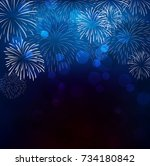 realistic colorful fireworks... | Shutterstock .eps vector #734180842
