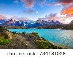 torres del paine over the pehoe ... | Shutterstock . vector #734181028
